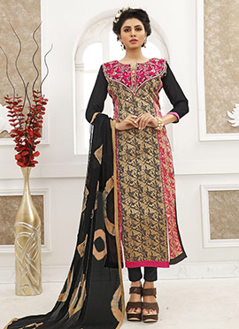 Beige N Black Cotton Straight Suit