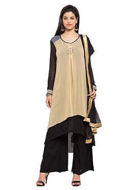 Beige N Black Layered Asymmetrical Palazzo Suit