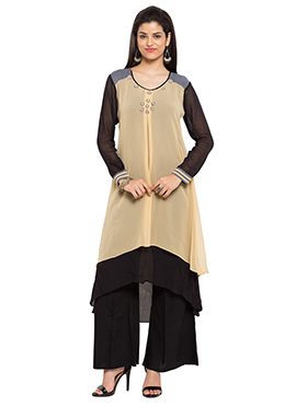 Beige N Black Layered Asymmetrical Suit