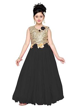 Beige N Black Net Kids Gown