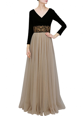 Beige N Black Net N Georgette Gown