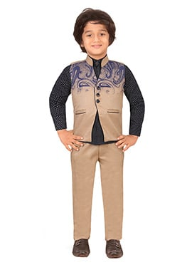 Beige N Black Silk Blend Boys Suit