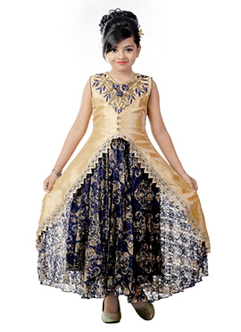 Beige N Blue Art Dupion Silk Kids Gown