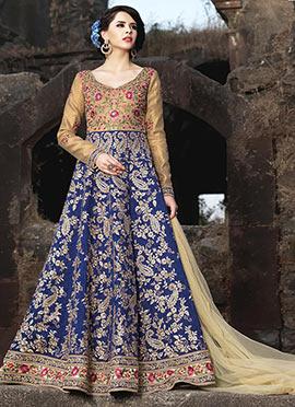 Beige N Blue Art Silk Abaya Style Anarkali Suit