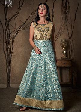 Beige N Blue Art Silk Anarkali Suit