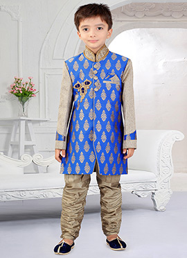 Beige N Blue Art Silk Breeches Style Kids Sherwani