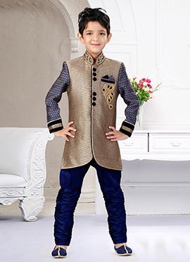 Beige N Blue Art Silk Breeches Style Kids Sherwani