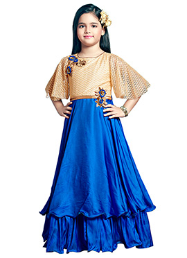 Beige N Blue Art Silk Girls Gown