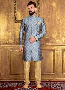Beige N Blue Art Silk Indowestern Sherwani