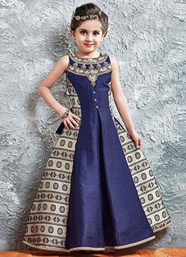 Beige N Blue Art Silk Kids Gown