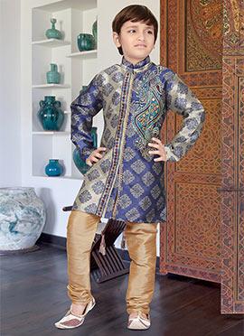 Beige N Blue Art Silk Kids Kurta Pyjama