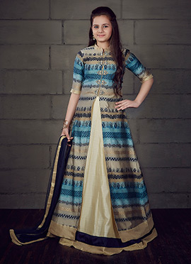 Beige N Blue Art Silk Kids Lehenga