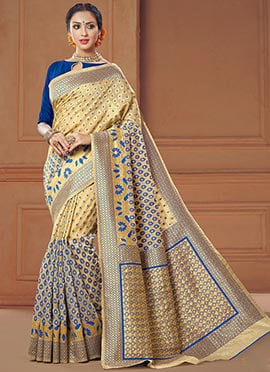 Beige N Blue Art Silk Saree