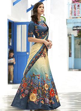 Beige N Blue Art Silk Umbrella Lehenga