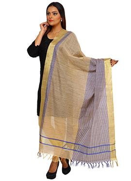 Beige N Blue Benarasi Art Tussar Silk Dupatta