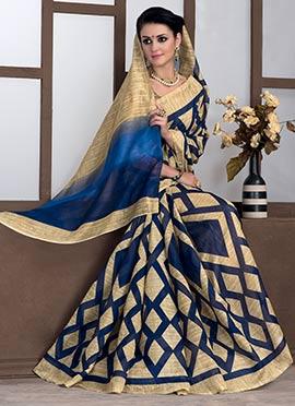 Beige N Blue Bhagalpuri Art Silk Saree