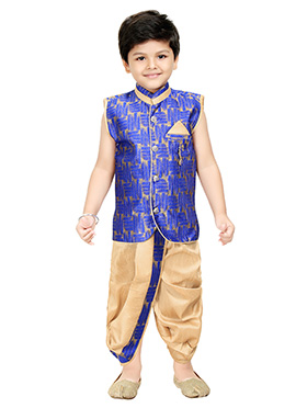 Beige N Blue Blended Cotton Kids Dhoti Kurta
