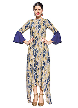 Beige N Blue Cotton Rayon Tunic