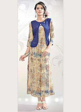 Beige N Blue Cotton Rayon Tunic