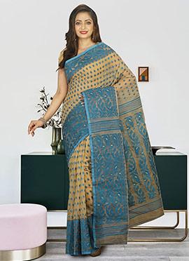 Beige N Blue Cotton Silk Jamdani Saree