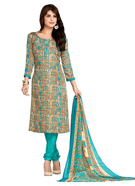 Beige N Blue Crepe Churidar Suit