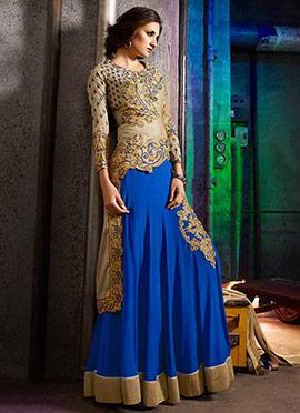 Beige N Blue Embroidered Silk Skirt Set