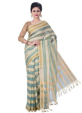 Beige N Blue Handloom Cotton Silk Saree