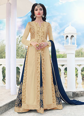 Beige N Blue Long Choli A Line Lehenga