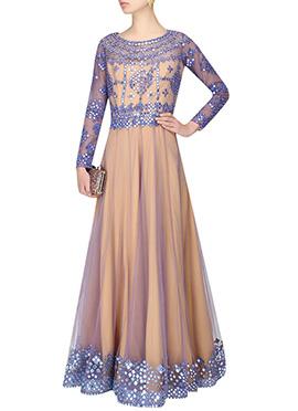 Beige N Blue Net Gown