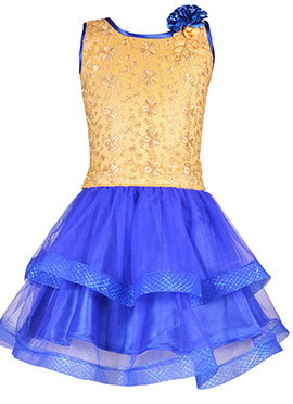Beige N Blue Net Kids Dress