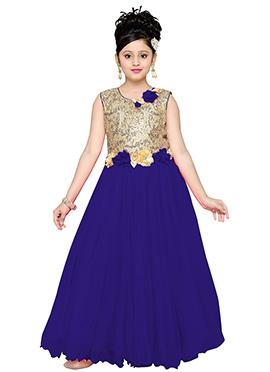 Beige N Blue Net Kids Gown