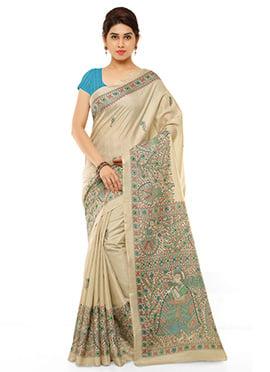 Beige N Blue Pashmina Printed Saree