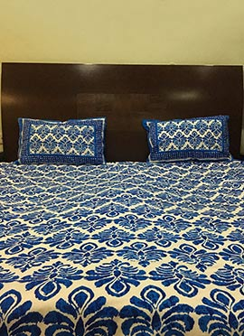 Beige N Blue Pure Cotton Bed Sheet