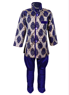 Grey N Blue Silk Cotton Kids Kurta Pyjama