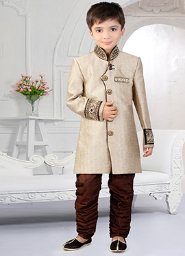Beige N Brown Art Silk Breeches Style Kids Sherwani