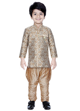 Beige N Brown Breeches Style Kids Sherwani