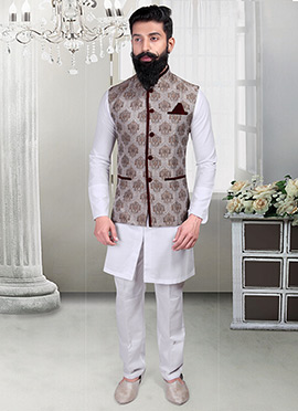 Beige N Brown Brocade Foliage Designed Nehru Jacket