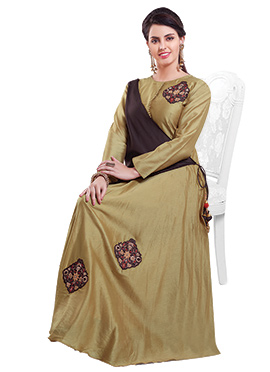 Beige N Brown Chanderi Pure Silk Anarkali Suit