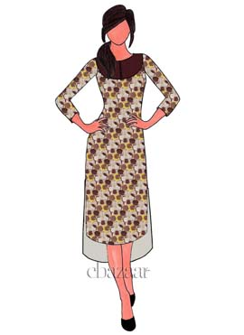 Beige N Brown Digital Printed Modal Silk High N Low Kurti