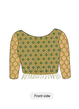 Beige N Brown Embroidered Net Boat Neck Blouse