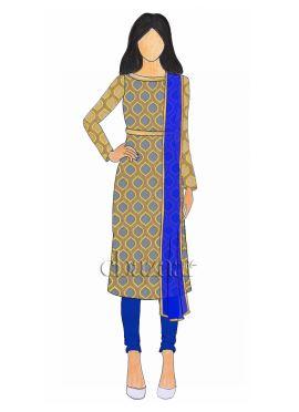 Beige N Brown Embroidered Net Churidar Suit