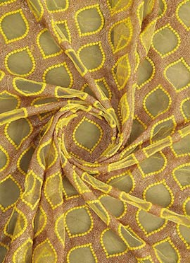 Beige N Brown Embroidered Net Fabric