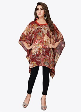 Beige N Brown Georgette Kaftan