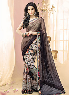 Beige N Brown Half N Half Saree