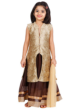 Beige N Brown Net Kids Anarkali Suit