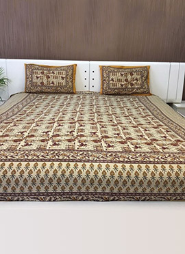Beige N Brown Pure Cotton Bed Sheet