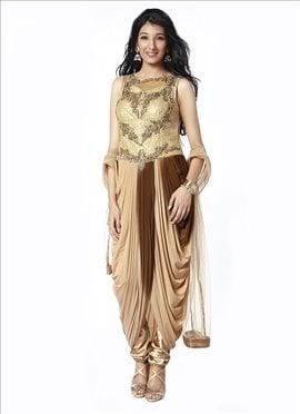 Beige N Brown Shaded Indo Western Drape Suit