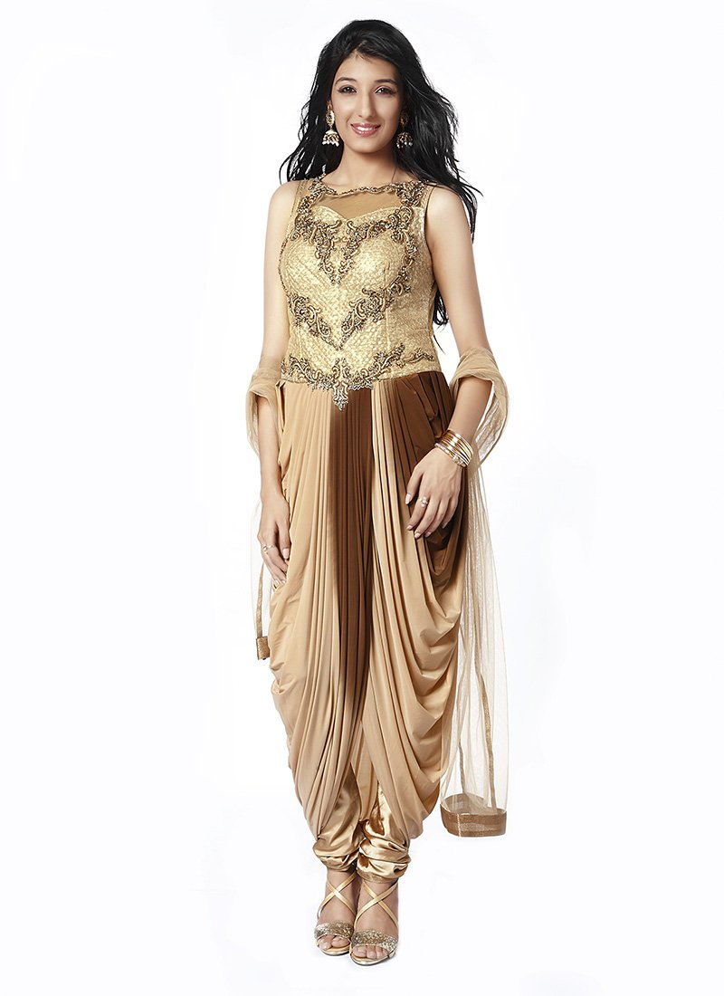 Buy Beige N Brown Shaded Indo Western Drape Suit, Embroidered ...