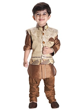 Beige N Brown Silk Cotton Kids Bandi Set