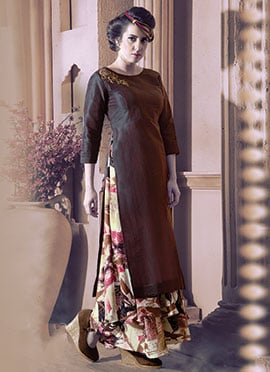 Beige N Brown Silk N Georgette Skirt Set